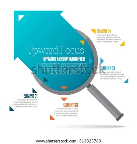 Vector illustration of upward arrow magnifier infographic design element. - stock vector