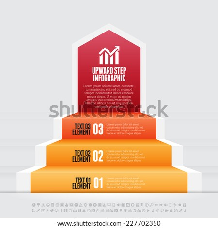 Vector illustration of upward step infographic design element. - stock vector