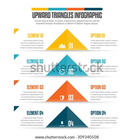 Vector illustration of upward triangles infographic design element. - stock vector
