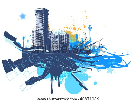Vector illustration of urban background with grunge stained Design elements - stock vector