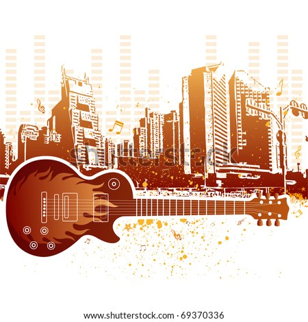 vector illustration of urban grunge city with guitar - stock vector