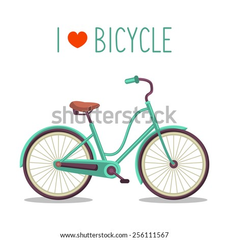 Vector illustration of urban hipster bicycle in trendy flat style with text I Love Bicycle