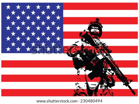 Vector illustration of US marine in front of the USA flag - stock vector
