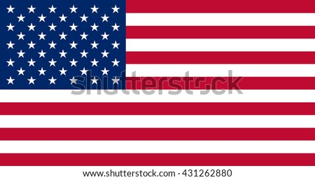 vector illustration of USA flag original and simple United State of America in official colors and proportion correctly, isolated background - stock vector