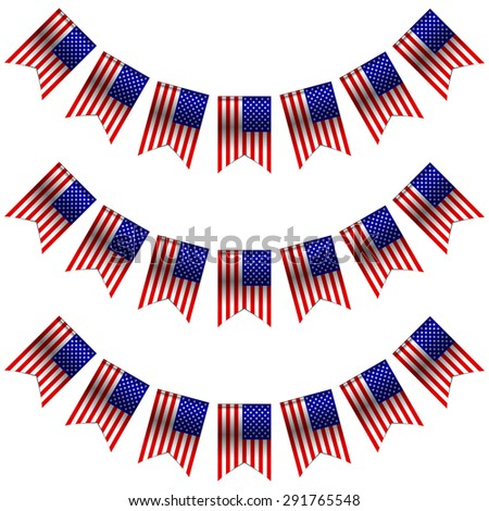 Vector illustration of USA flags - stock vector