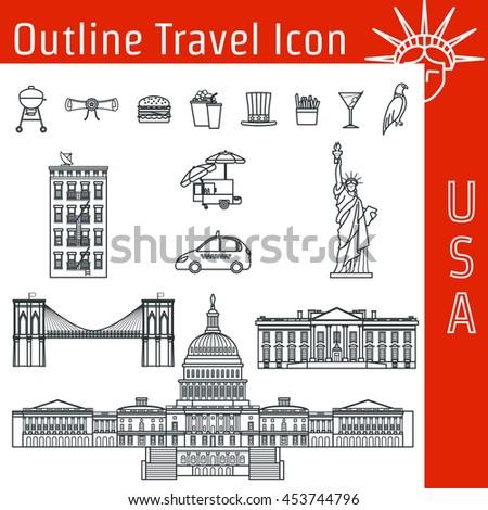 Vector illustration usa icon outline design stock vector 453744796 vector illustration of usa icon outline for design website background banner tourism pronofoot35fo Images