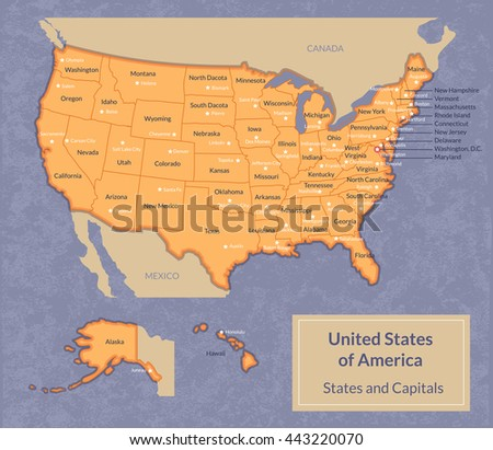 Vector Political Map Usa All Stock Vector Shutterstock - Map of all states