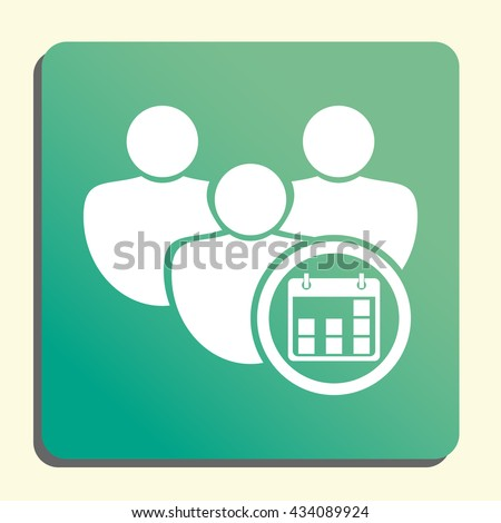 Vector illustration of user date sign icon on green light background. - stock vector