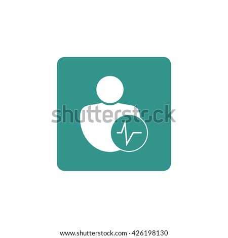 Vector illustration of user pulse sign icon on green background. - stock vector