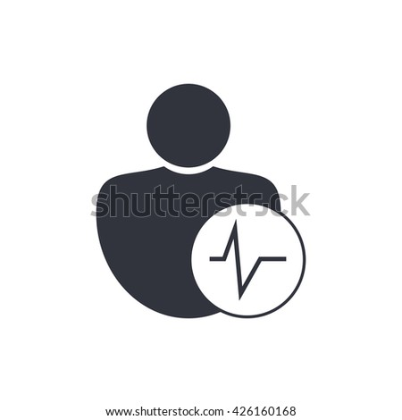 Vector illustration of user pulse sign icon on white background. - stock vector