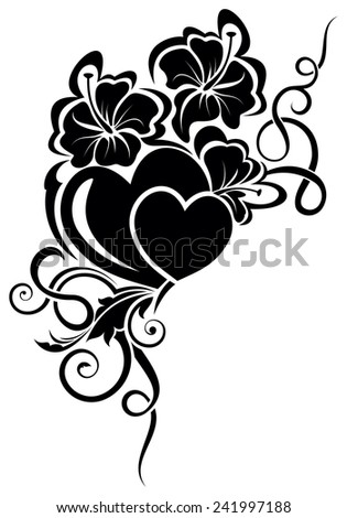 Vector illustration of valentine day floral design element