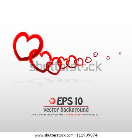 vector illustration of valentine heart chain - stock vector