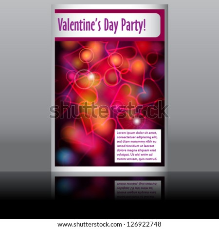 Vector illustration of Valentine's Day flyer with glittering rainbow lights - stock vector