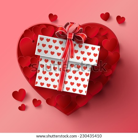 Vector illustration of Valentines day. Abstract paper  hearts. - stock vector