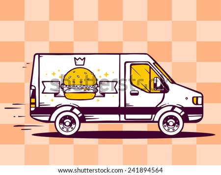 Vector illustration of van free and fast delivering burger with crown to customer on pattern background. Line art design for web, site, advertising, banner, poster, board and print. - stock vector