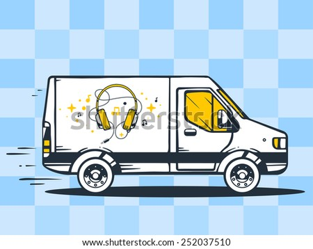 Vector illustration of van free and fast delivering headphones to customer on blue background. Line art design for web, site, advertising, banner, poster, board and print. - stock vector