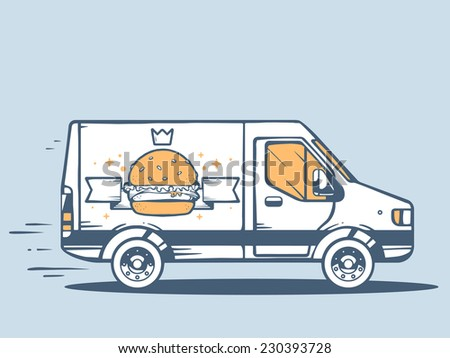 Vector illustration of van free and fast delivering photo big burger to customer on blue background. Line art design for web, site, advertising, banner, poster, board and print. - stock vector