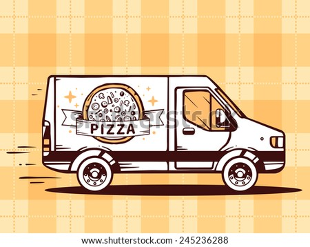 Vector illustration of van free and fast delivering pizza to customer on yellow background. Line art design for web, site, advertising, banner, poster, board and print. - stock vector