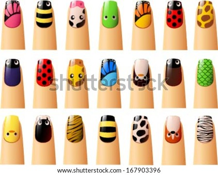Vector Illustration Various Animal Nail Designs Stock Vector
