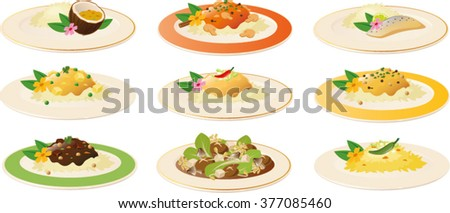 Vector illustration of various asian dishes. - stock vector