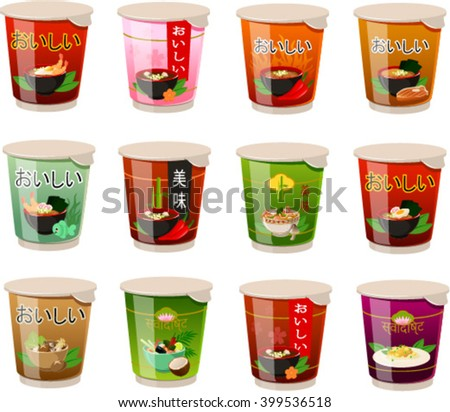 Vector illustration of various asian instant noodle soups. The characters in japanese, chinese and hindi mean 'delicious' - stock vector