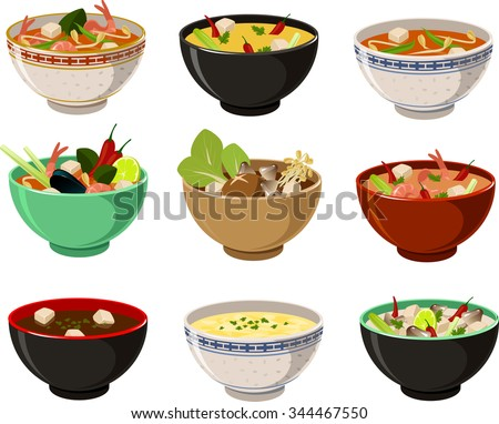 Vector illustration of various asian soups. - stock vector