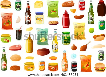 Vector illustration of various BBQ food items. - stock vector