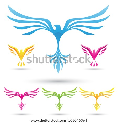vector illustration of  various birds icons - stock vector