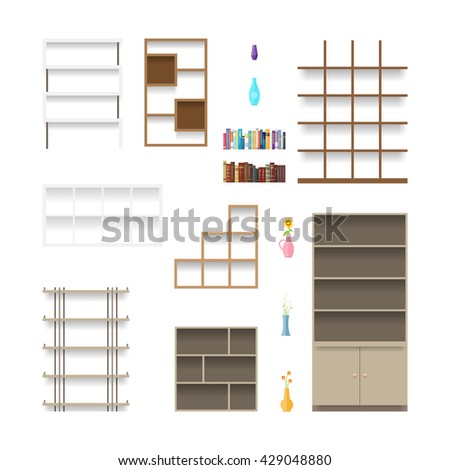 Vector illustration of various bookshelves and some contents. - stock vector