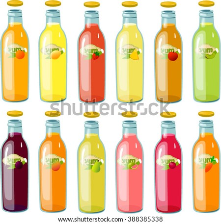 Vector illustration of various bottle of juice. - stock vector