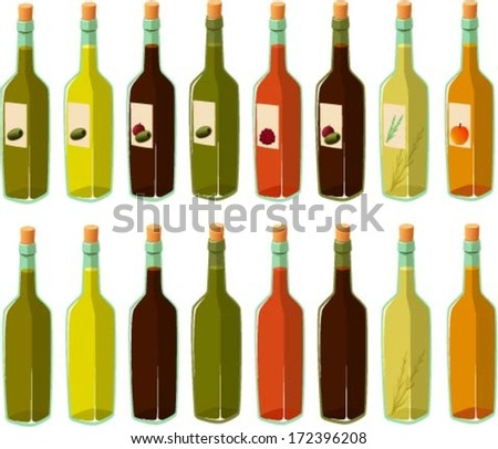 Vector illustration of various bottles of oil and vinegar.