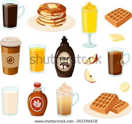 Vector illustration of various breakfast foods and drinks.  - stock vector