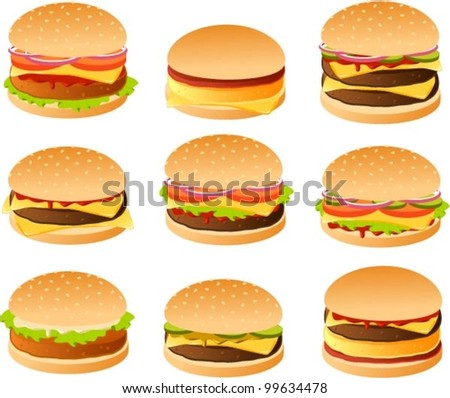Vector illustration of various burgers.