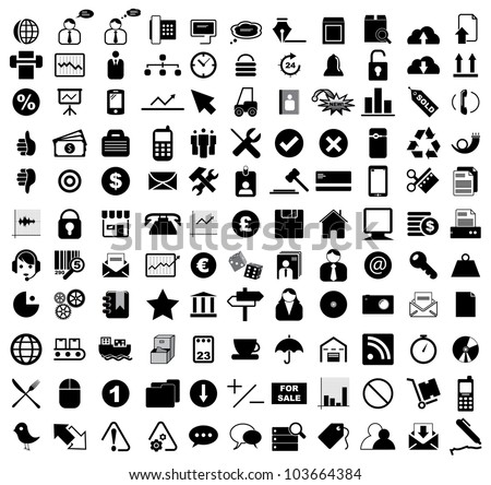Vector illustration of various business, computer, internet, entertainment, office, transportation and shippping icons. - stock vector