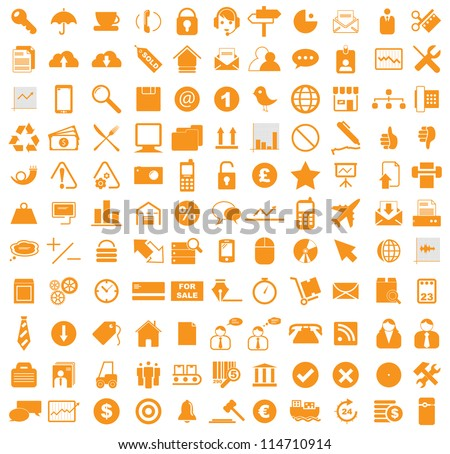 Vector illustration of various business, media, internet icons. - stock vector