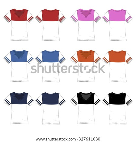 Vector Illustration of various colored Football style tees. - stock vector