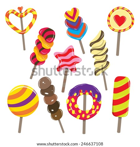 Vector illustration of various colorful candy sticks. - stock vector