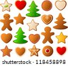 Vector illustration of various decorated christmas cookies. - stock photo