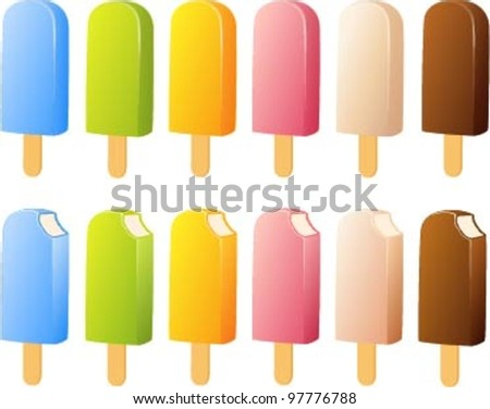 Vector illustration of various different ice creams.