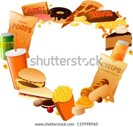 Vector illustration of various fast food items arranged in a heart shape. - stock vector