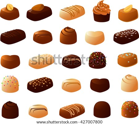 Vector illustration of various filled chocolates. - stock vector