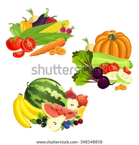 Vector illustration of various fruit, berry and vegetables isolated on white background - stock vector