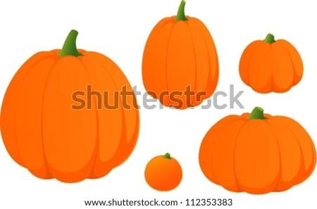 Vector illustration of various halloween pumpkins.