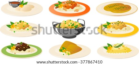 Vector illustration of various indian dishes. - stock vector