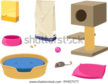 Vector illustration of various items for cats