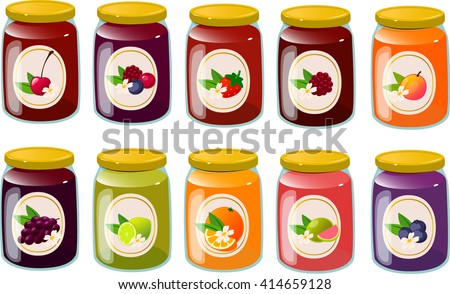 Vector illustration of various jams and jellies. - stock vector