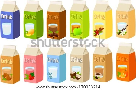 Vector illustration of various kinds of dairy products, nut milks and juices. - stock vector
