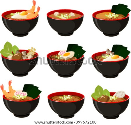 Vector illustration of various kinds of japanese noodle soups. - stock vector
