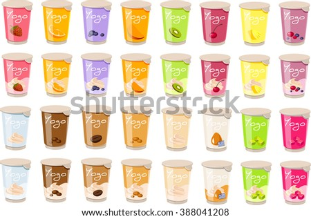 Vector illustration of various kinds of yogurt. - stock vector