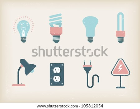 Vector illustration of various lamps - stock vector